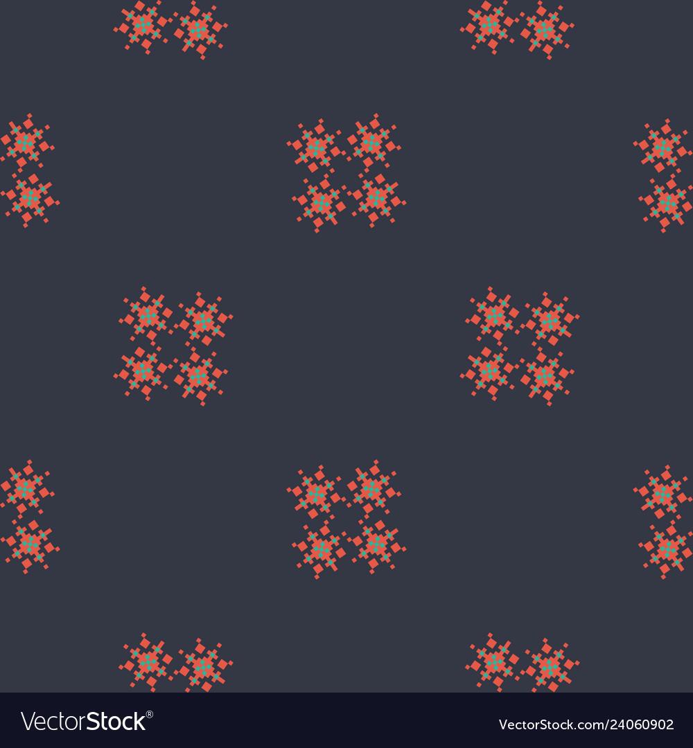Black simple geometric pattern with snowflakes