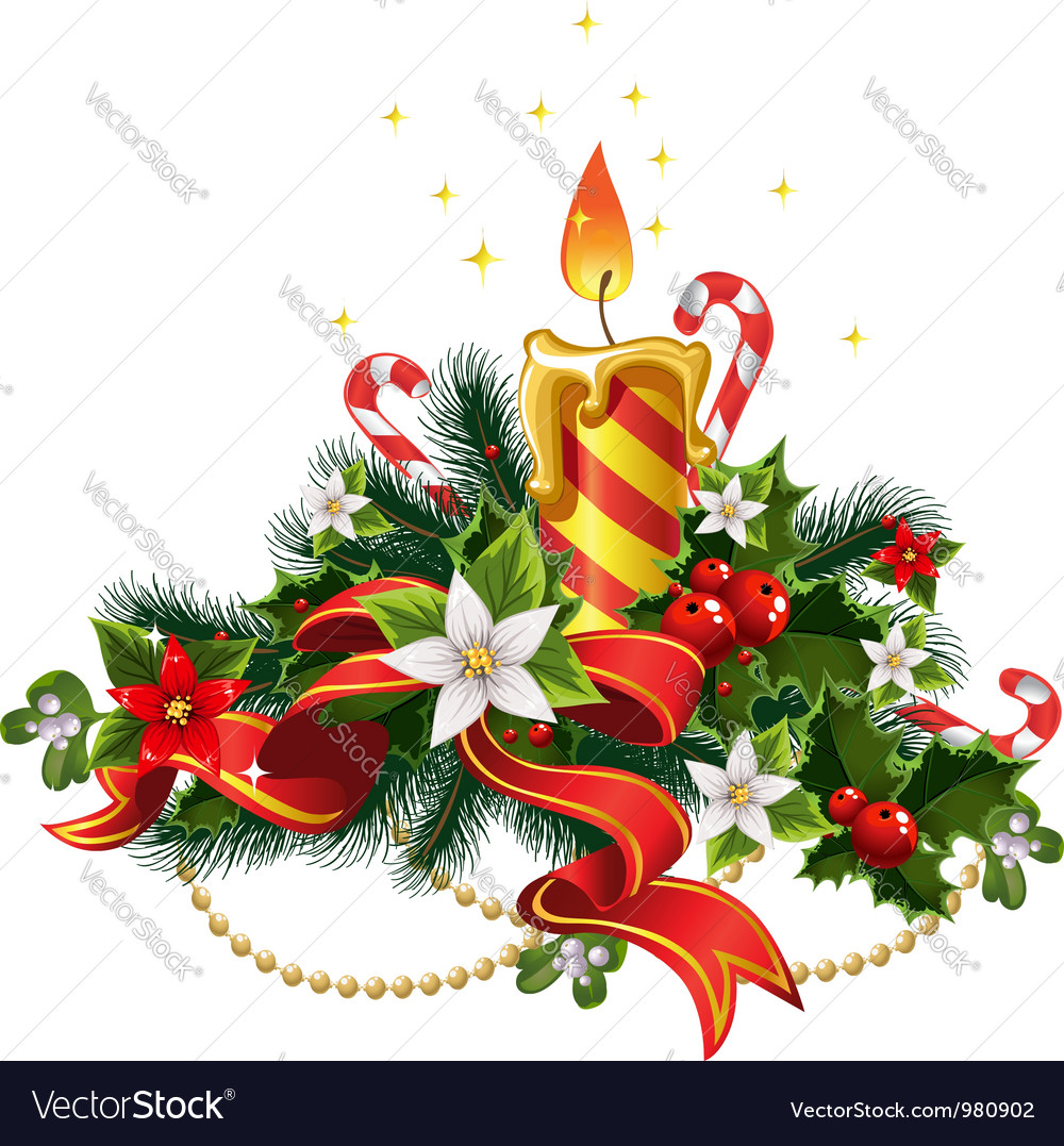 christmas candle light with decorations vector image - Christmas Candle Decorations
