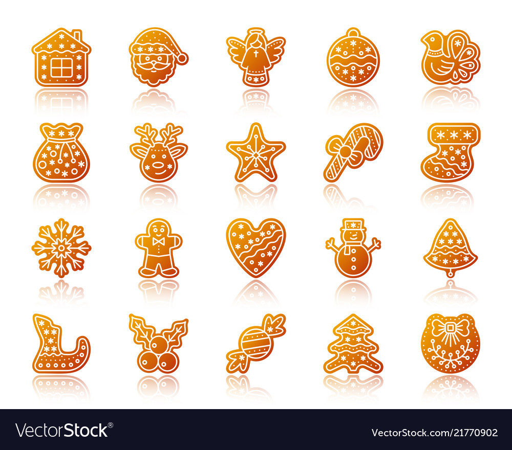 Christmas gingerbread gradient icons set