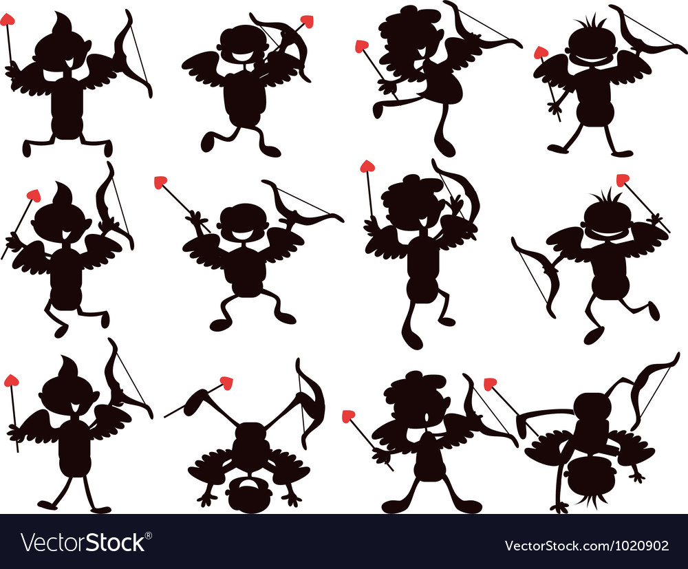 Cute cartoon style of cupid silhouettes vector image