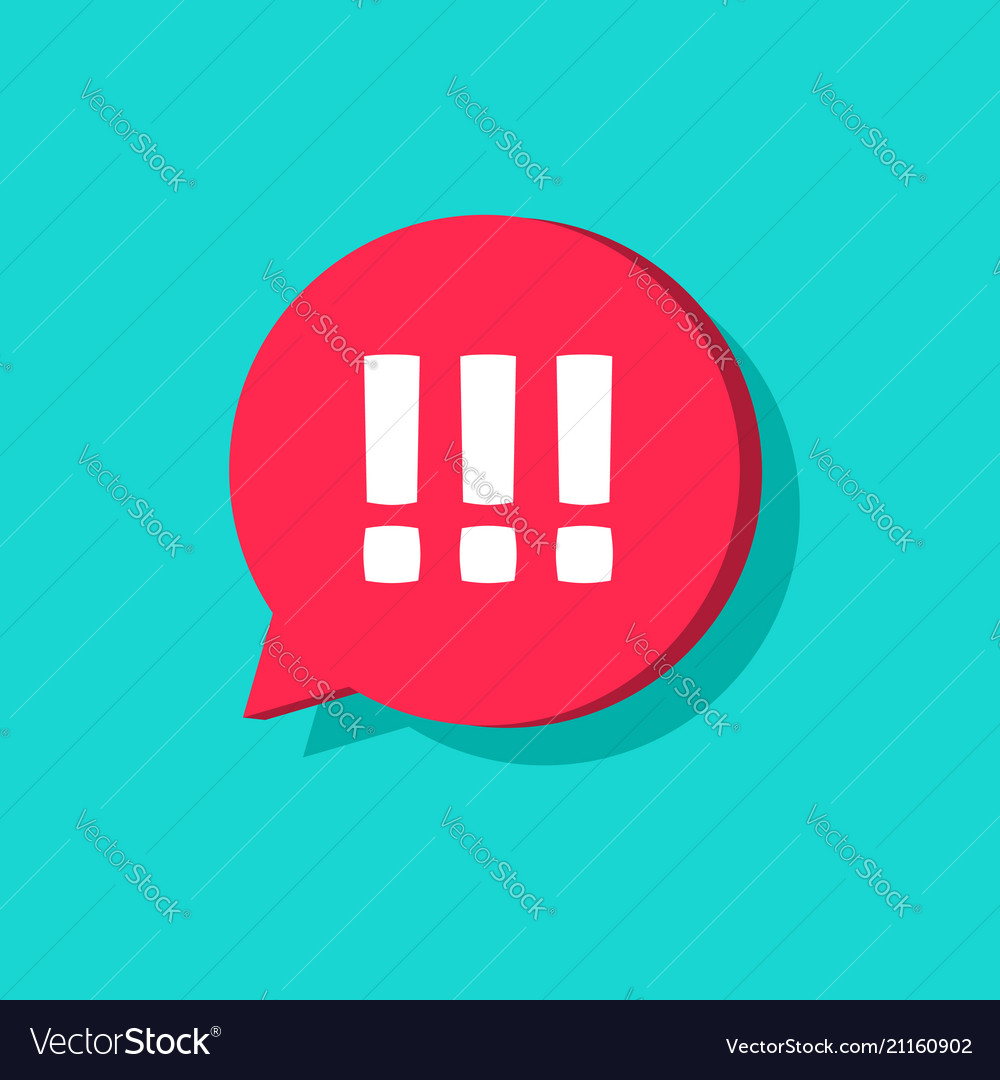 Exclamation mark in chat bubble speech icon