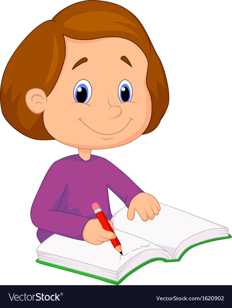 Little Girl Cartoon Writing On A Book Royalty Free Vector