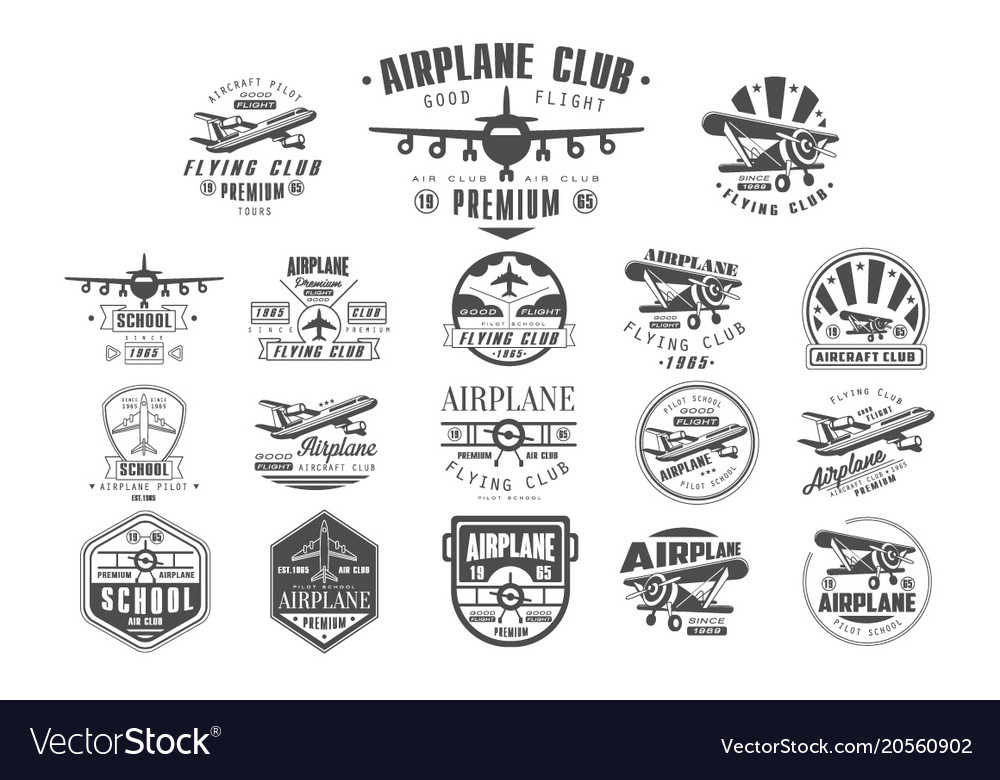 Set of vintage airplane logos original monochrome vector image