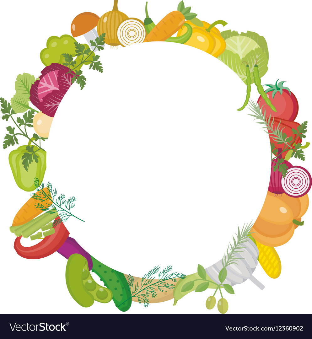 Vegetables round frame with space for text Flat