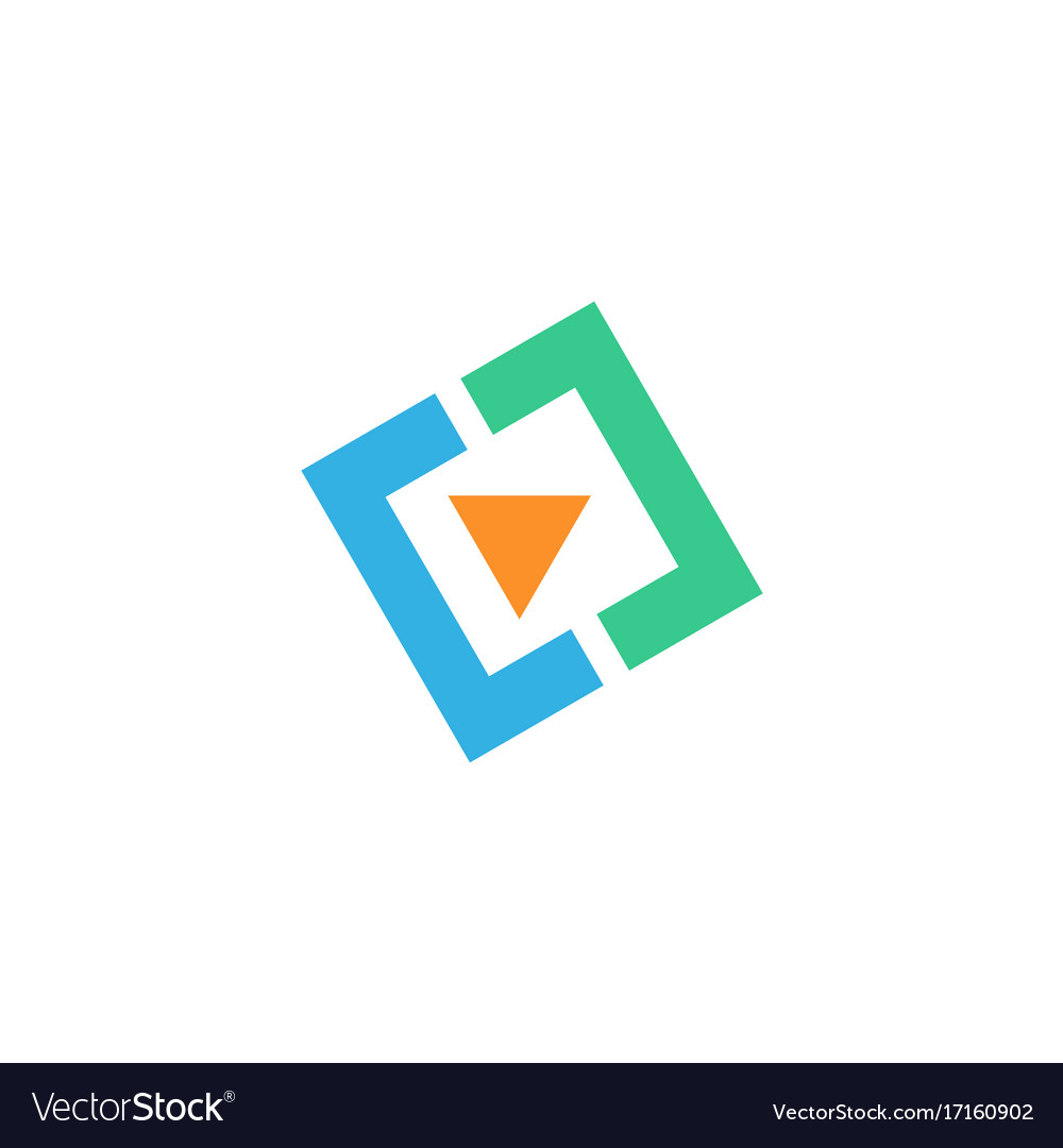Video play square icon logo