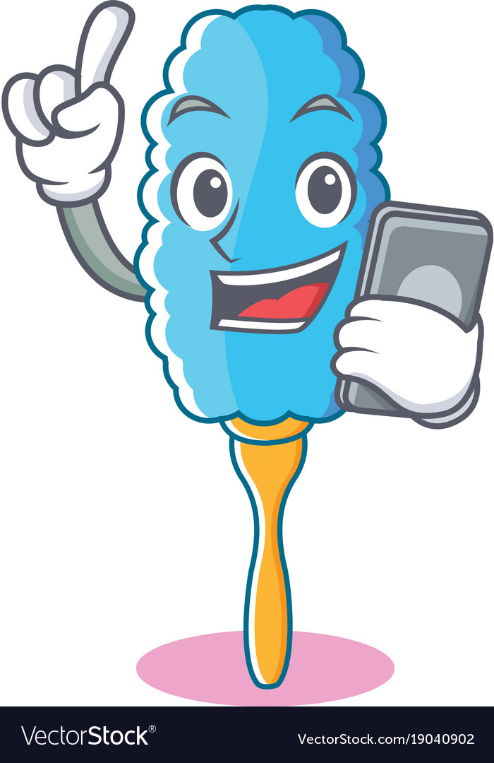 With phone feather duster character cartoon vector image