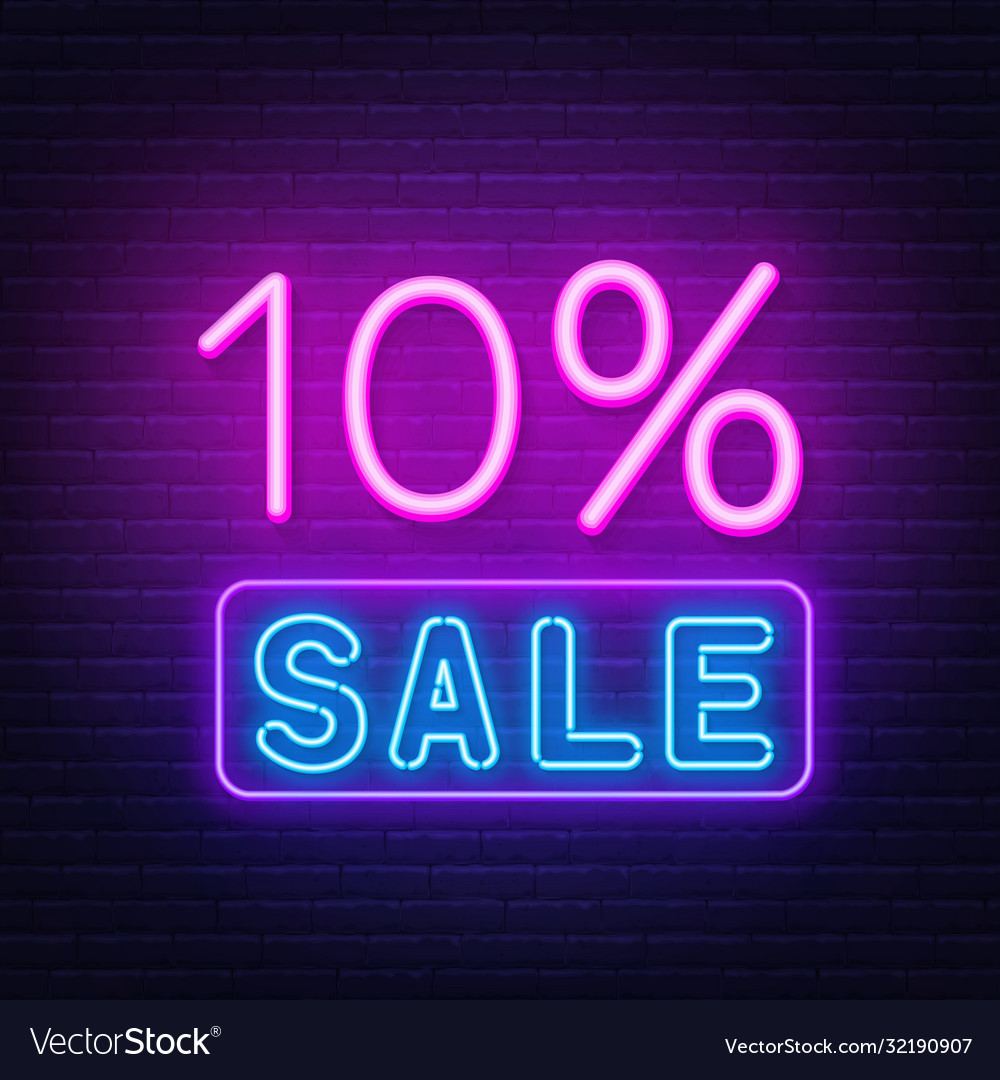 10 percent sale neon sign on brick wall background