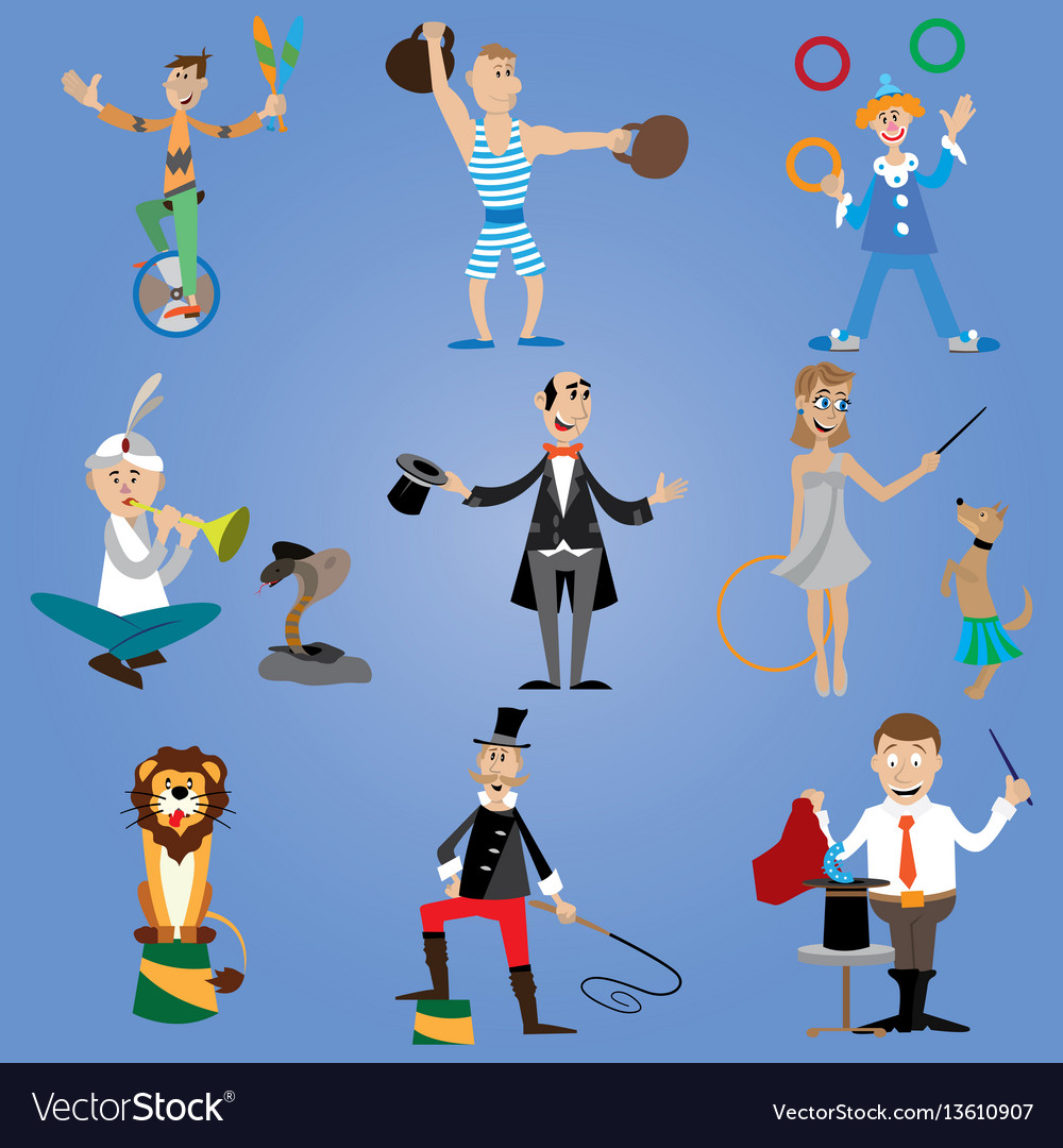 A set of circus performers
