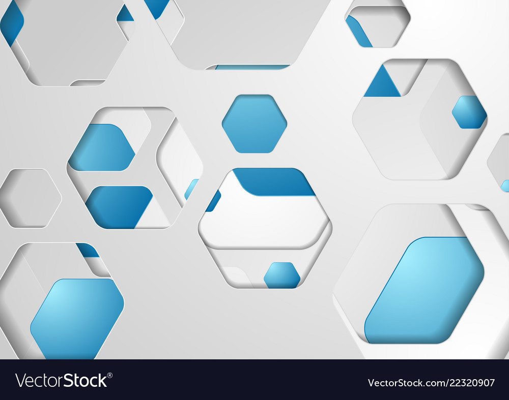 Abstract tech grey blue paper hexagons background