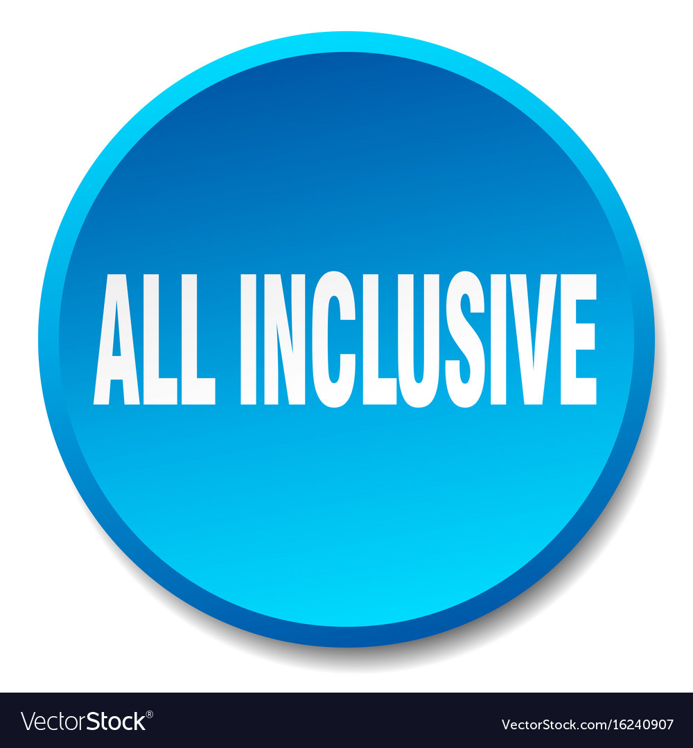 372b91d62121 All inclusive blue round flat isolated push button vector image