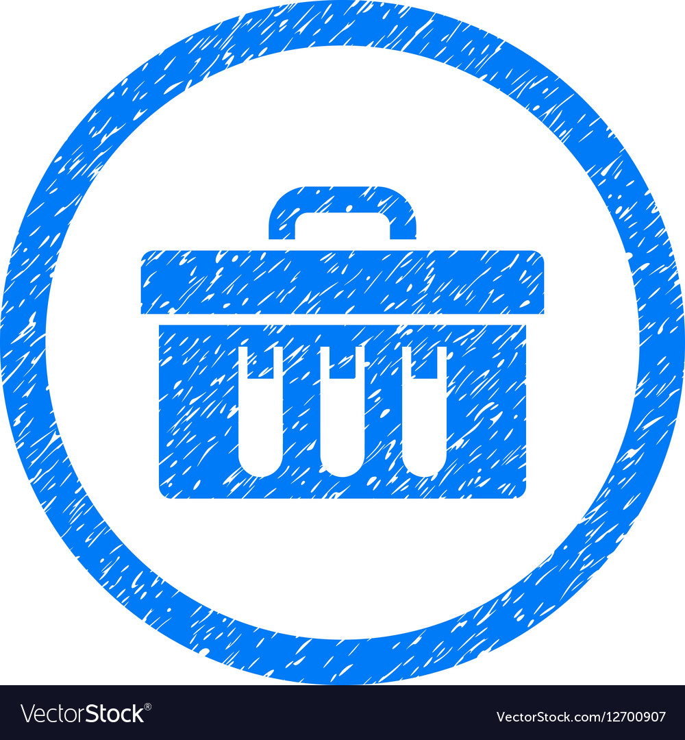 Analysis Box Rounded Icon Rubber Stamp vector image