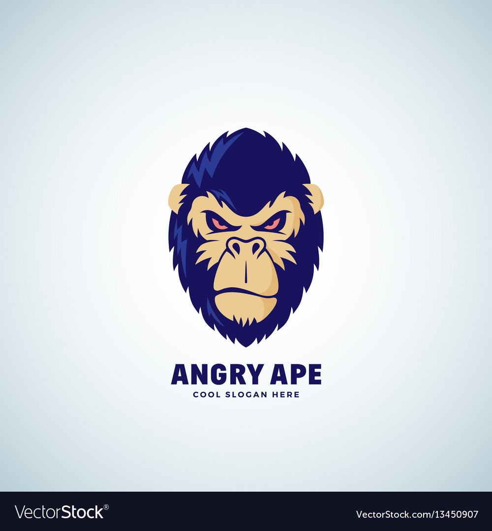 Angry ape abstract sign emblem or logo