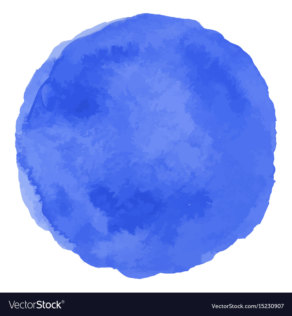 Blue isolated watercolor paint circle