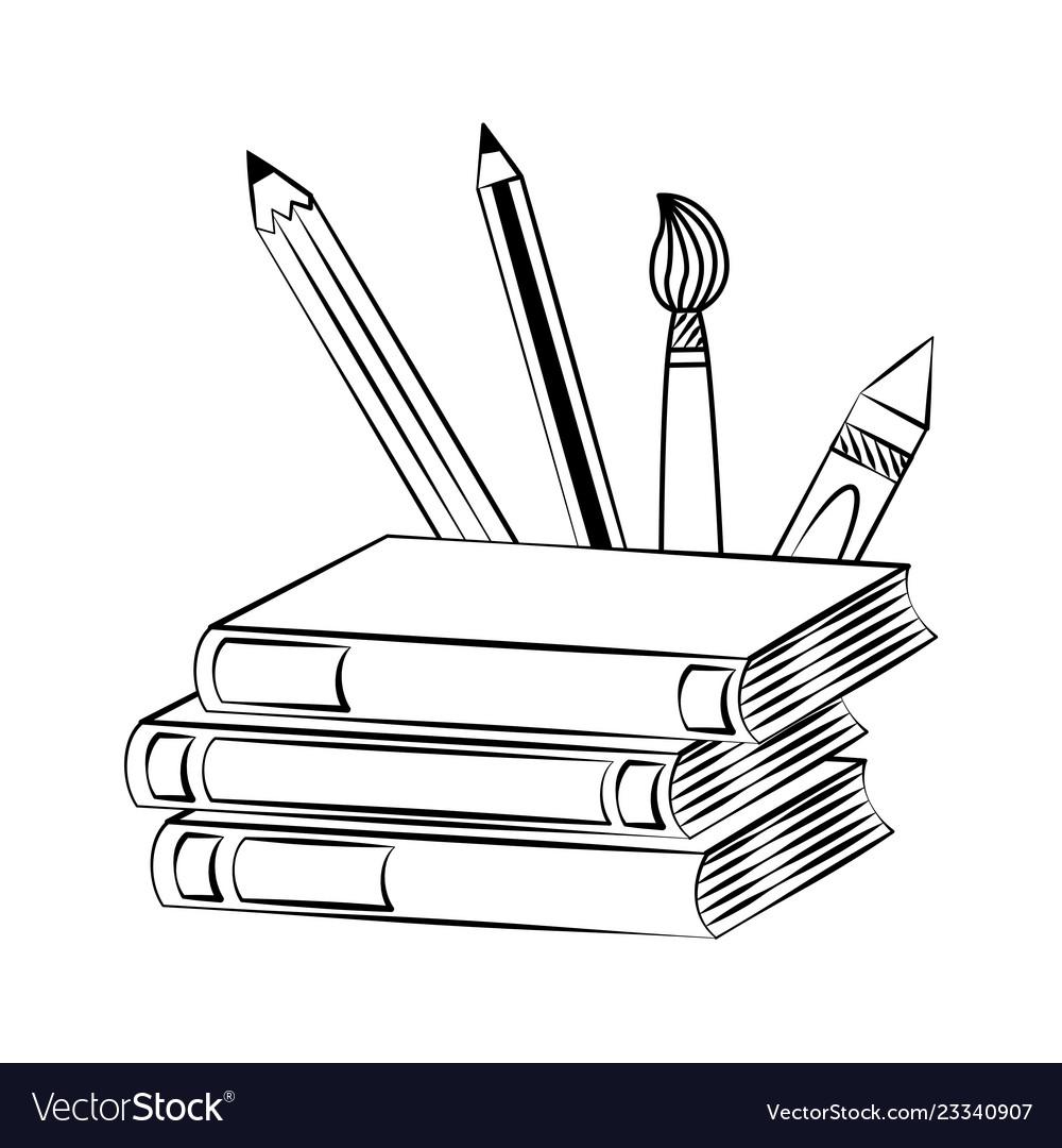 Books pencils brush back