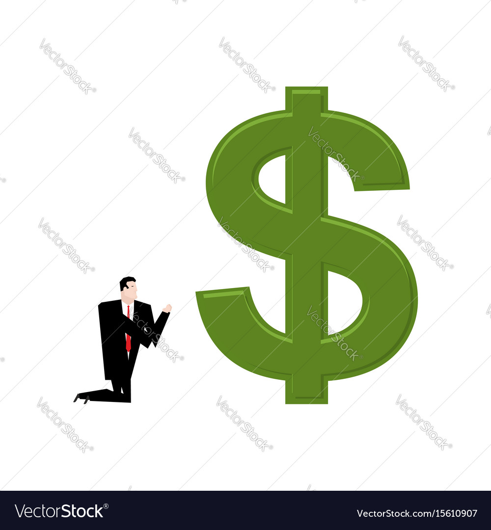 Businessman praying to dollar prayer cash pray