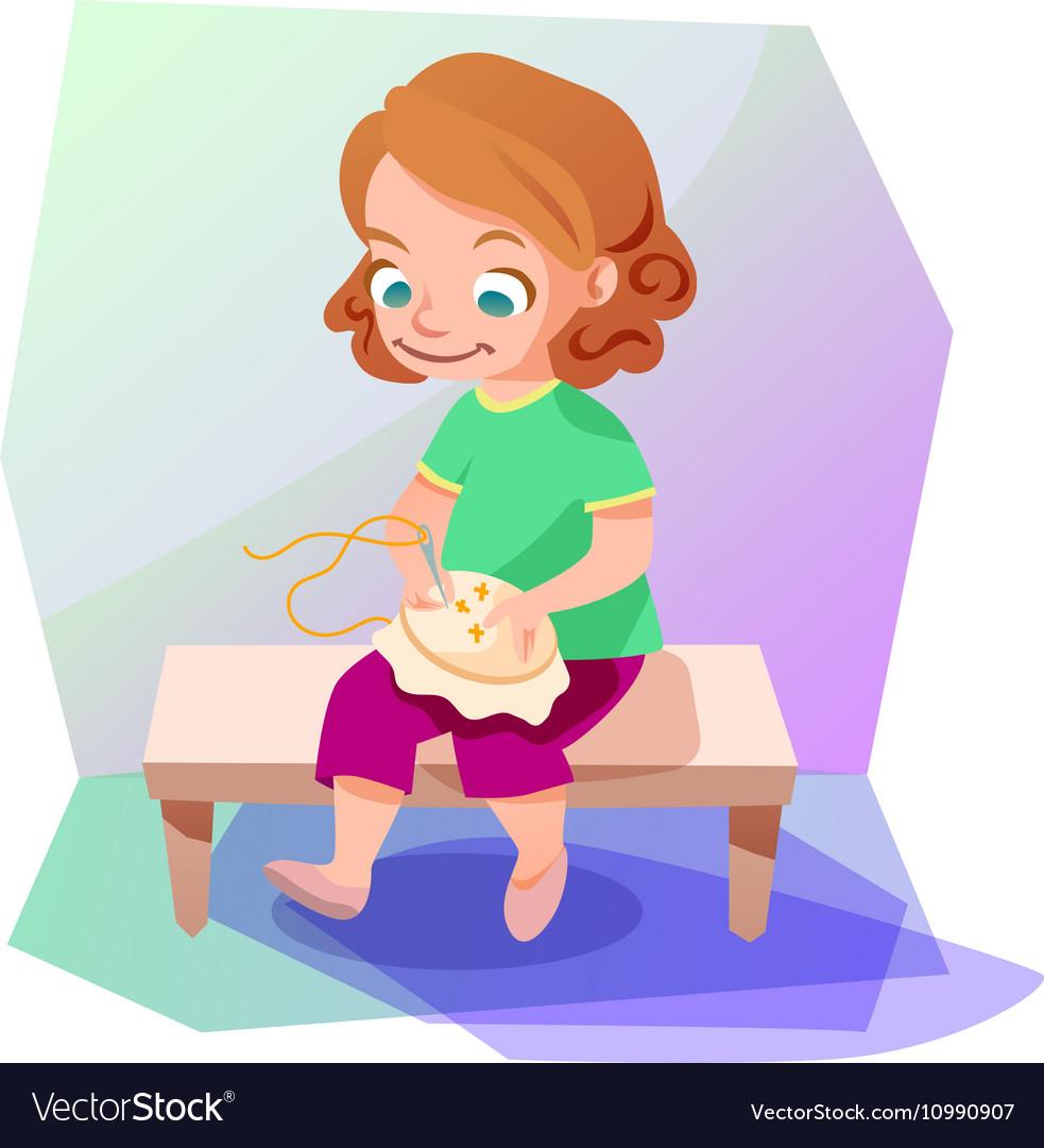Girl doing a cross stitching