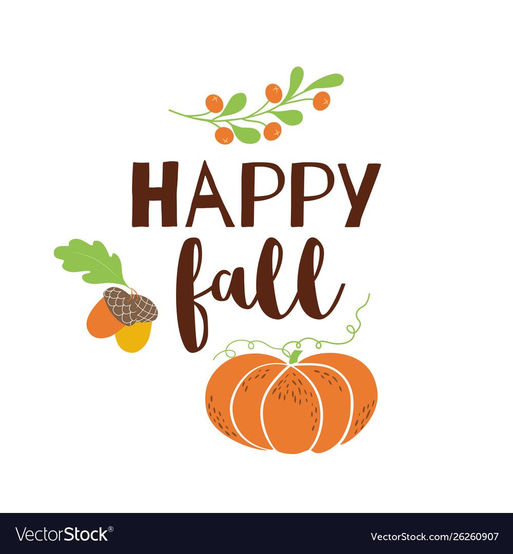 Happy fall autumn greeting card pumpkin acorn