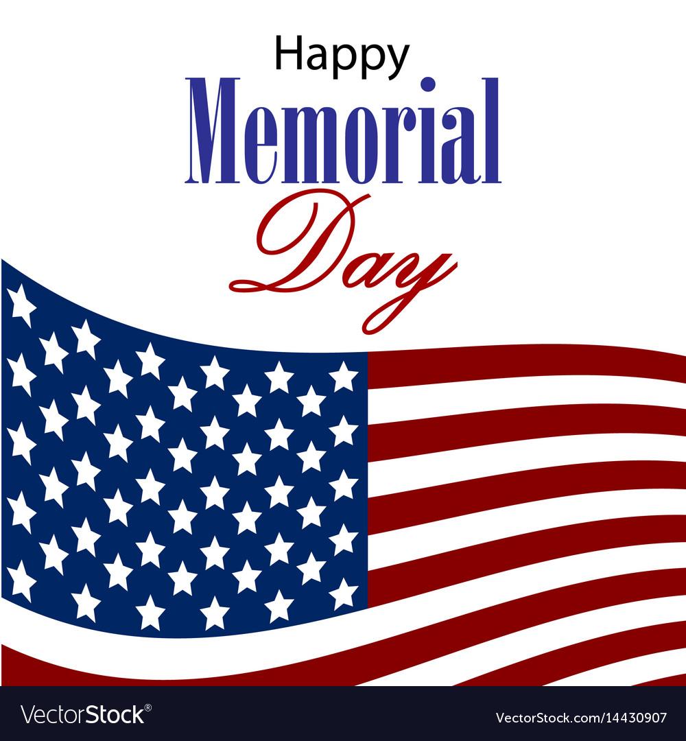 Happy memorial day card vector image