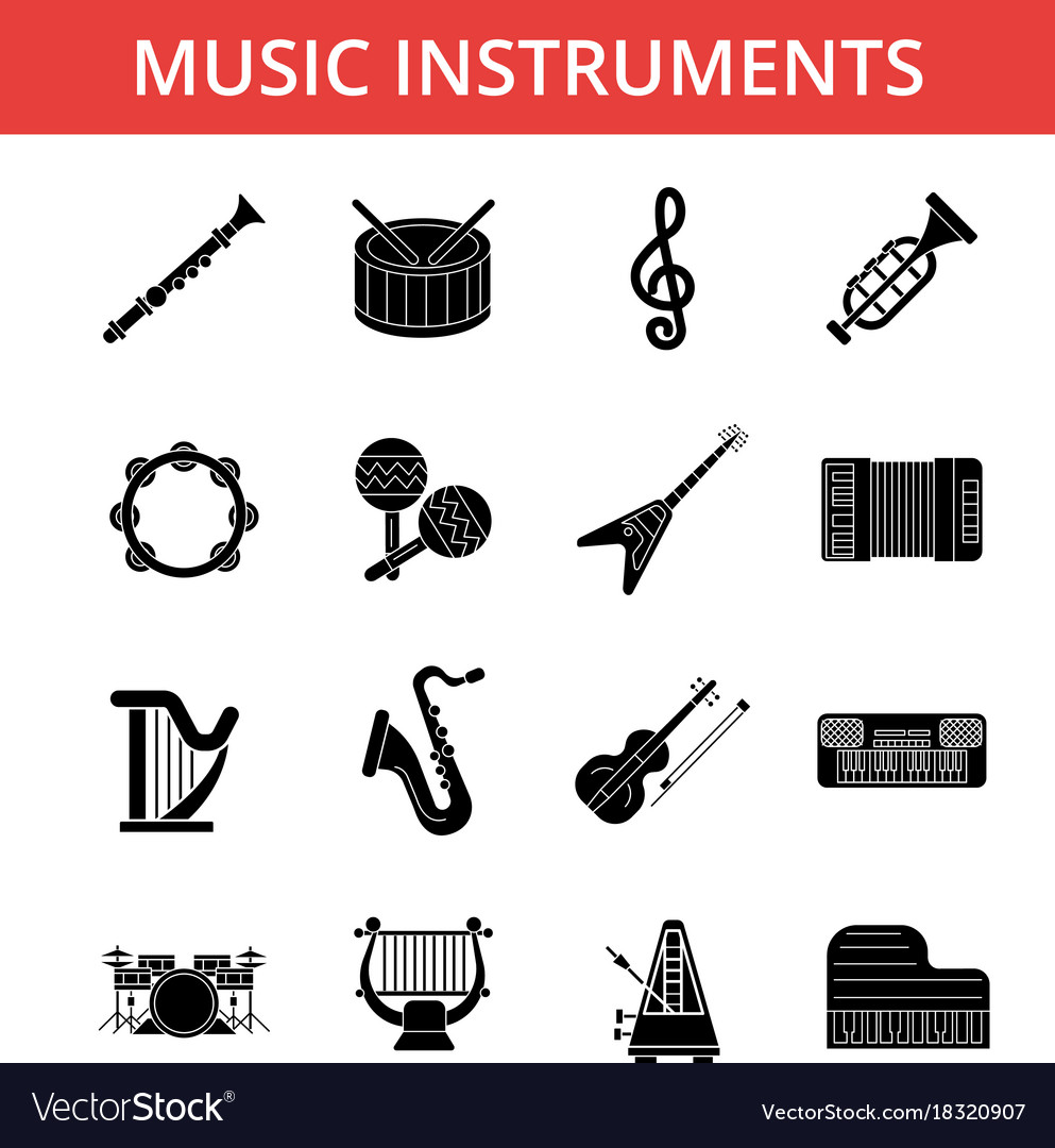 Music instruments thin line icons
