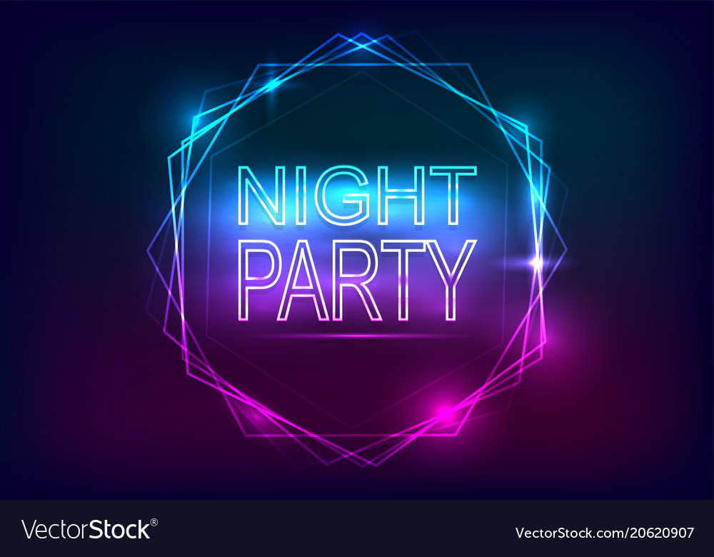 Night party advertisement template neon style