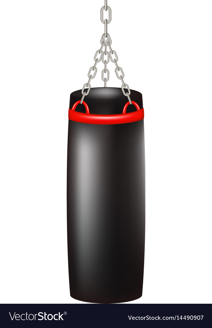 Punching bag for boxing in black design vector image
