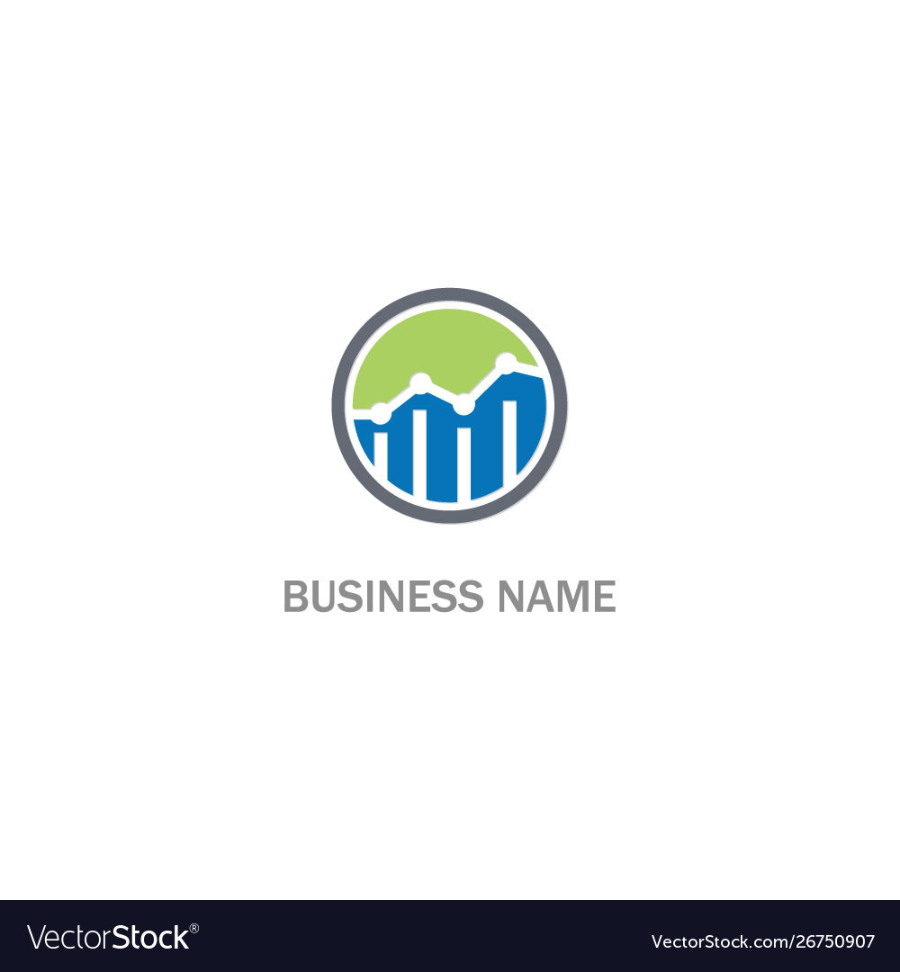 Round line graph business progress logo