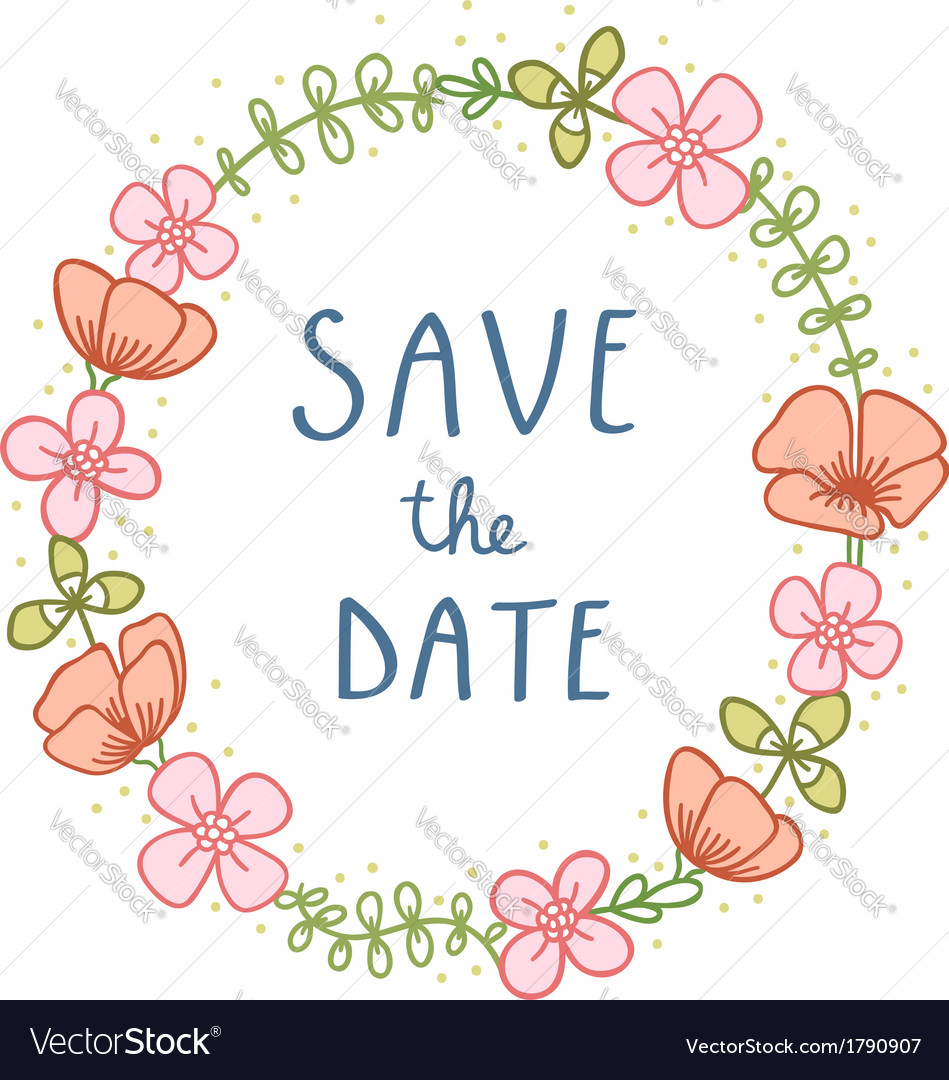 Save the date florals vector image