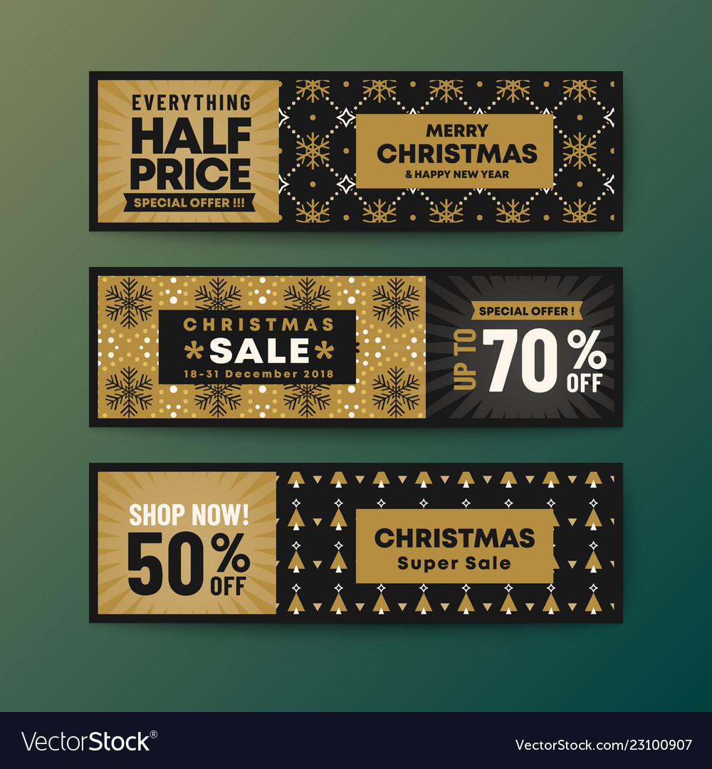 Set of gold color theme christmas web banner