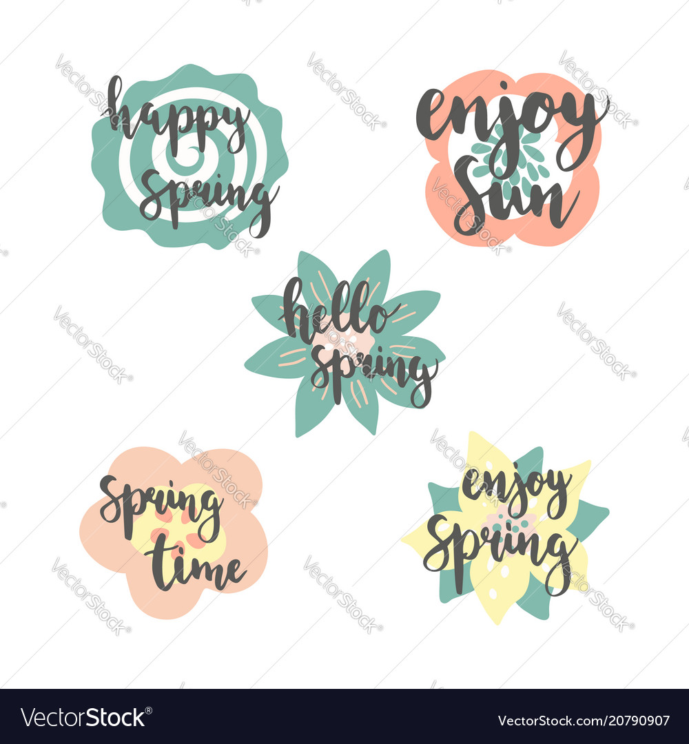 Spring time lettering with colorful flowers vector image