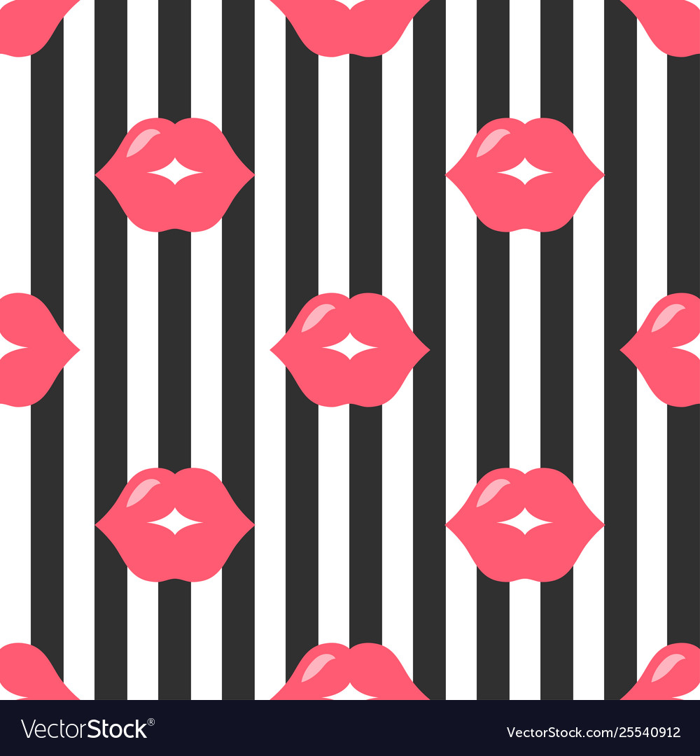 Background with red lips and black stripes