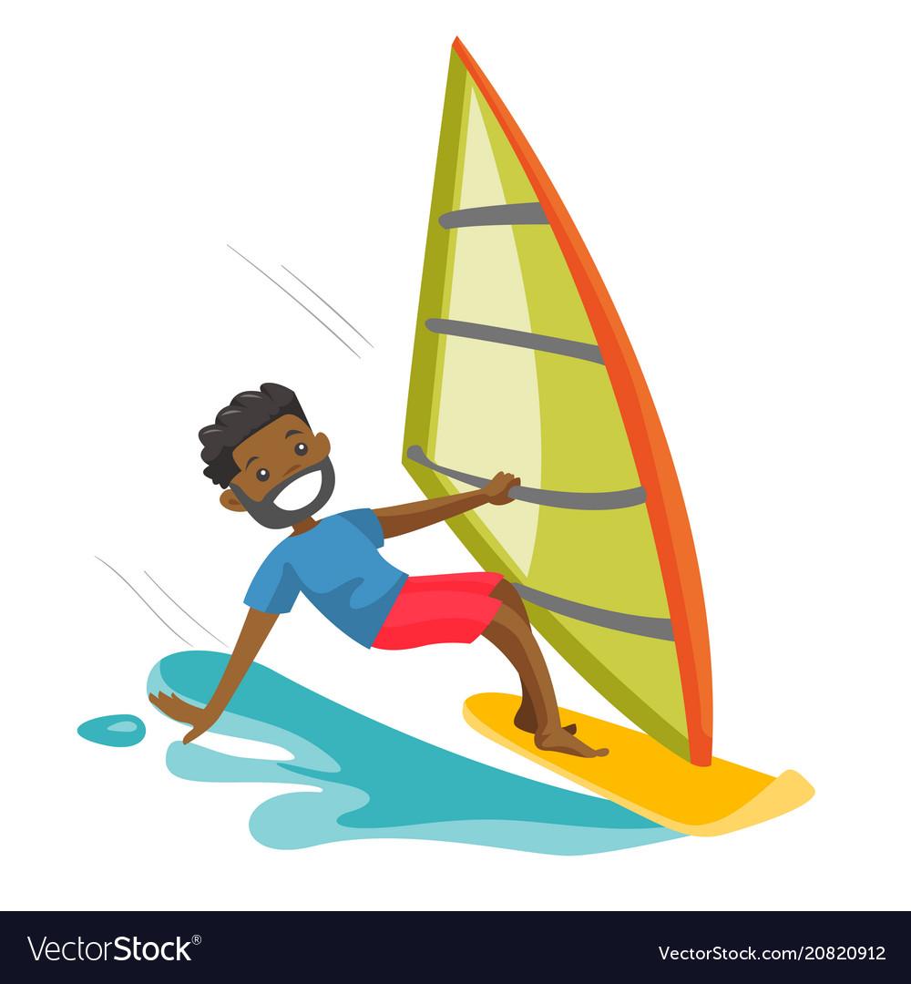 Black man rushing on a windsurfing board