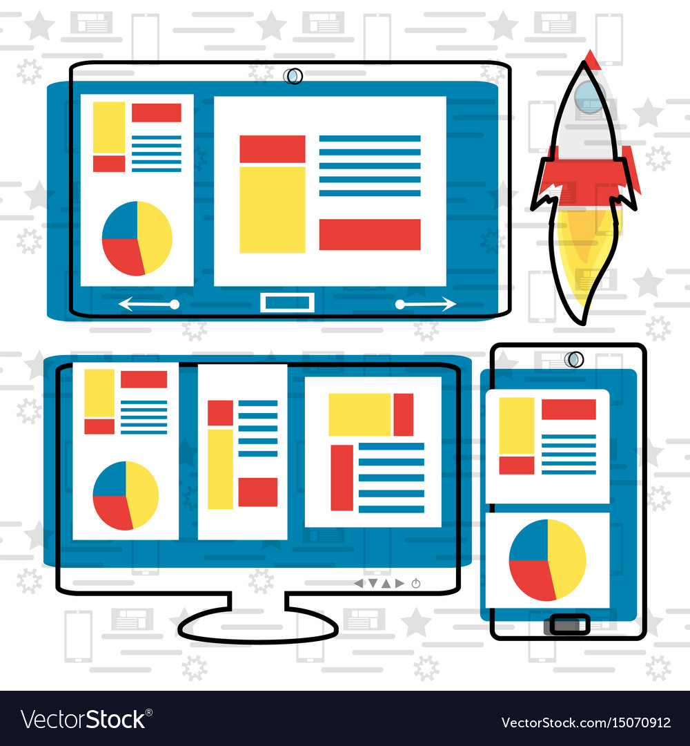 Colorful set icon digital marketing vector image