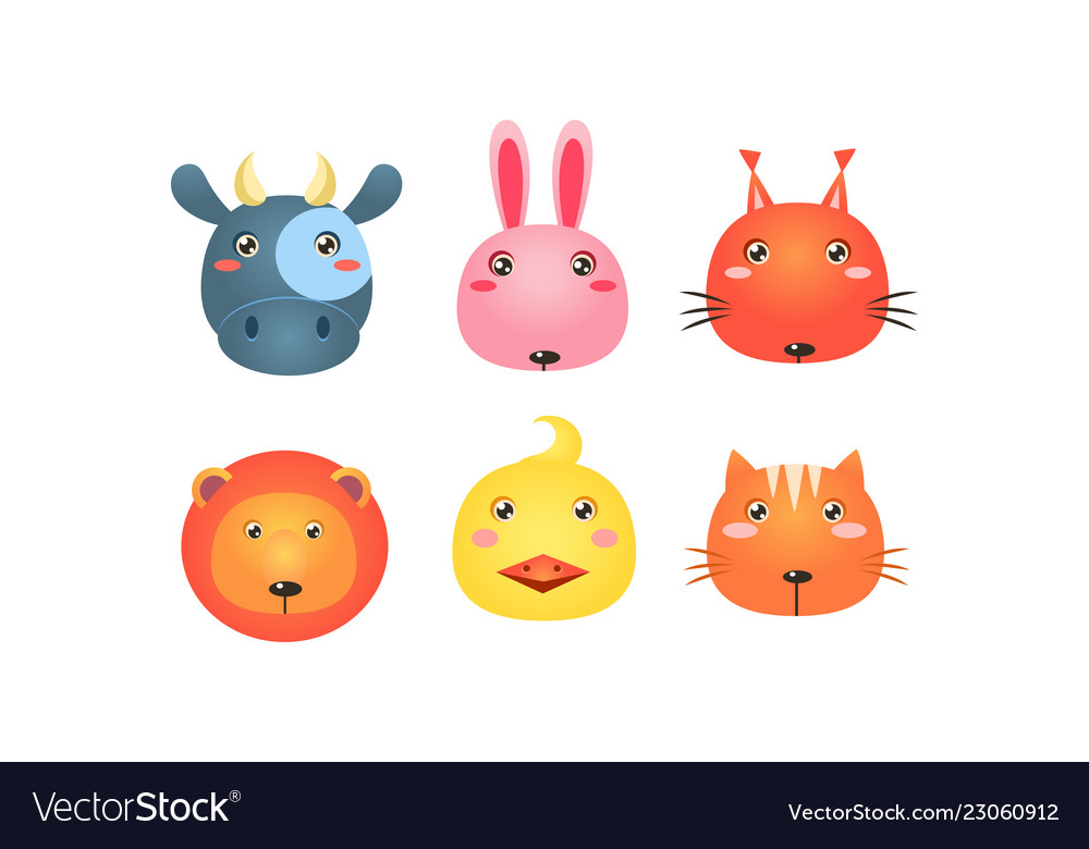 Cute animal heads set funny faces of cow bunny