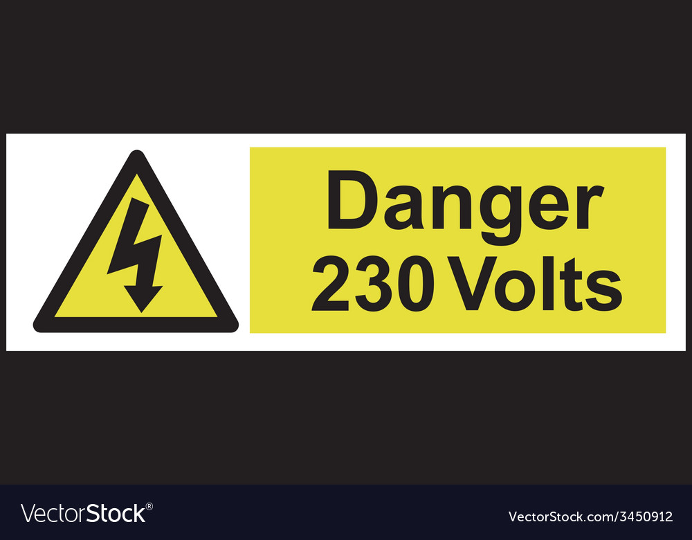 Danger 230 volts safety sign