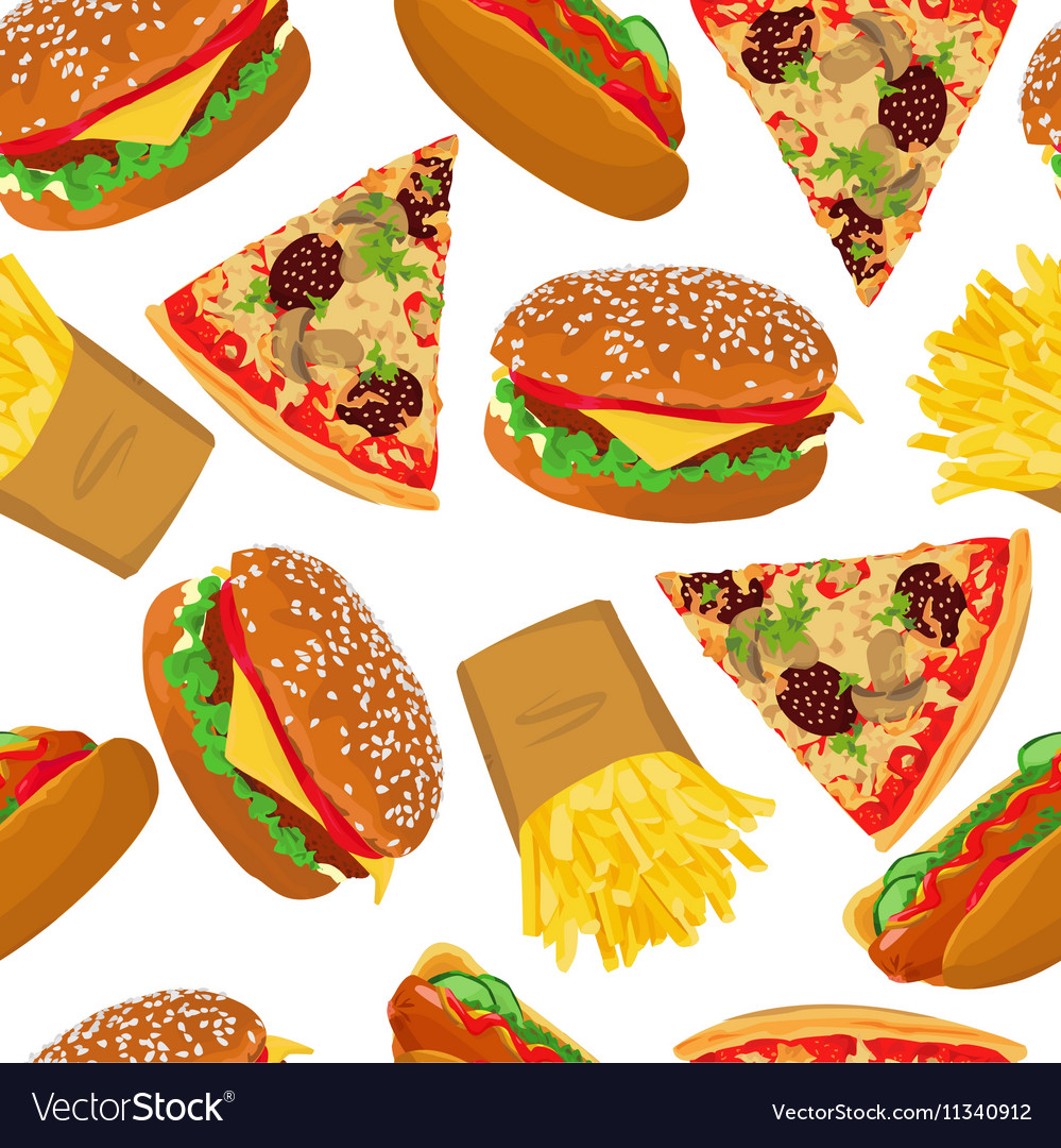 Fast food seamless on white background