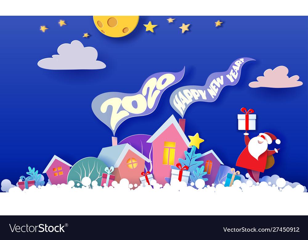 Funny winter village christmas card paper art