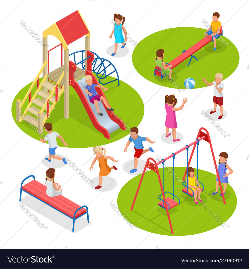 Isometric kids boys and girls are playing on the