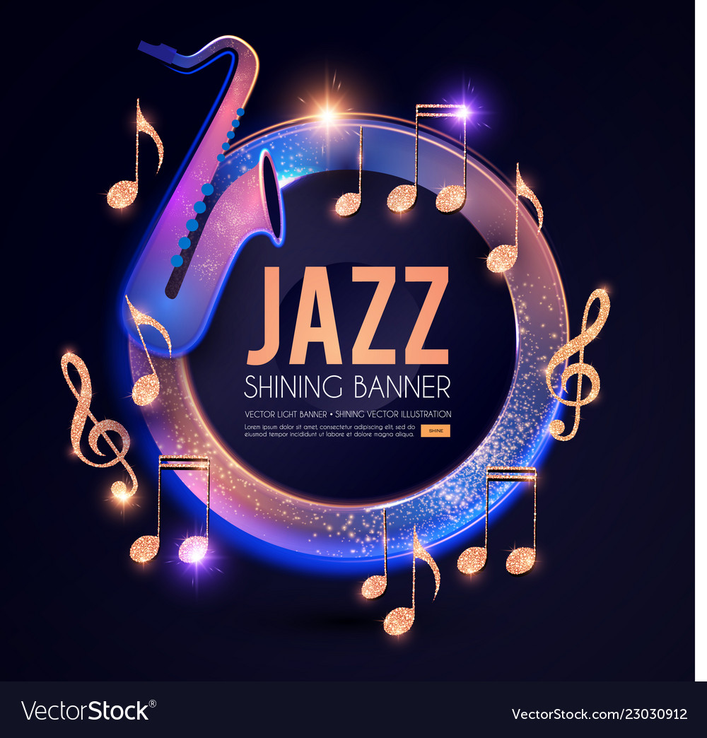 Jazz concert poster template with guitar shining