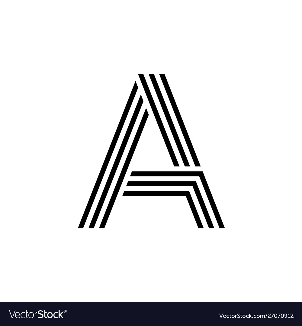 Letter a with geometric three strips logo