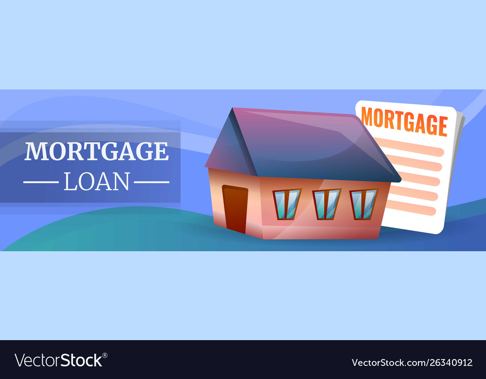 Mortgage Loan Concept Banner Cartoon Style Vector Image