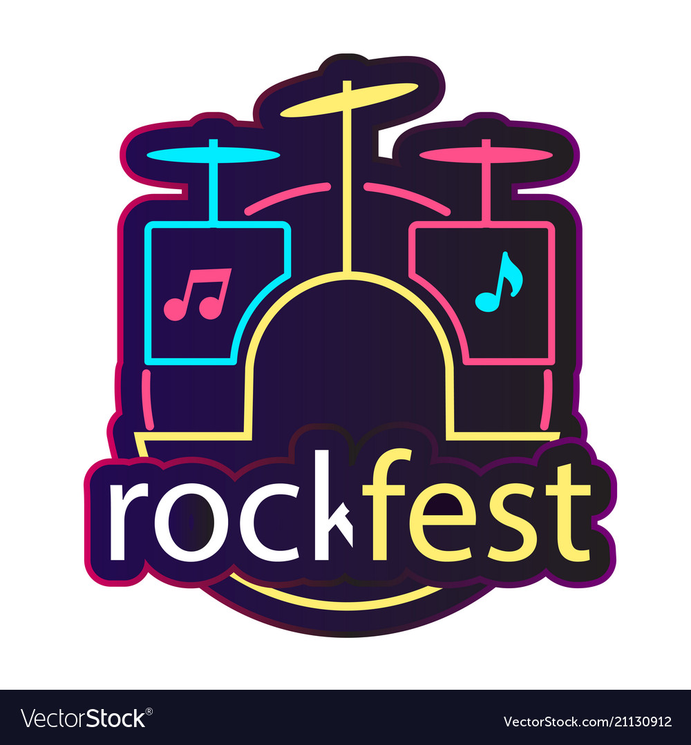 Neon rock fest drum background image