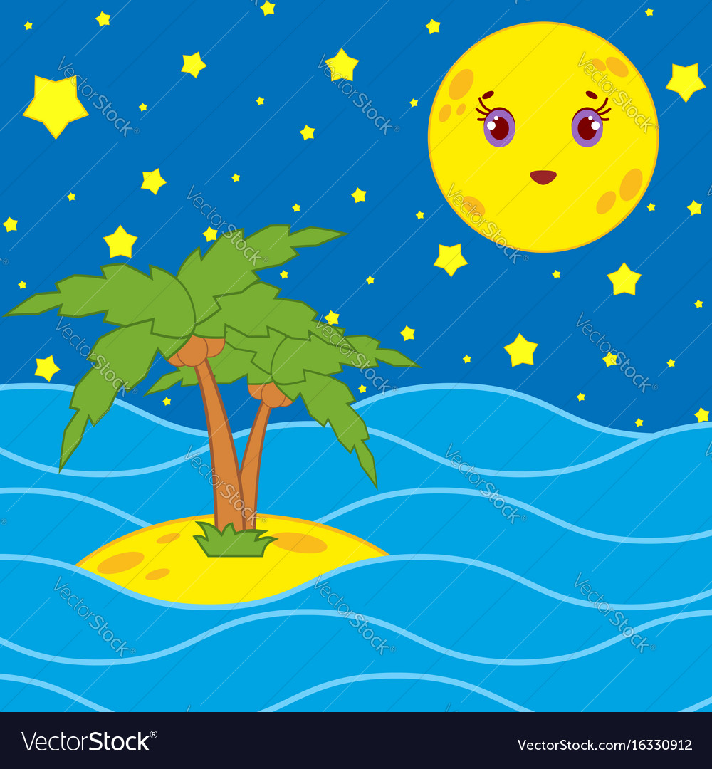 Palm Trees And A Cartoon Moon In Night Sky Vector Image Filmed at joshua tree national park. vectorstock