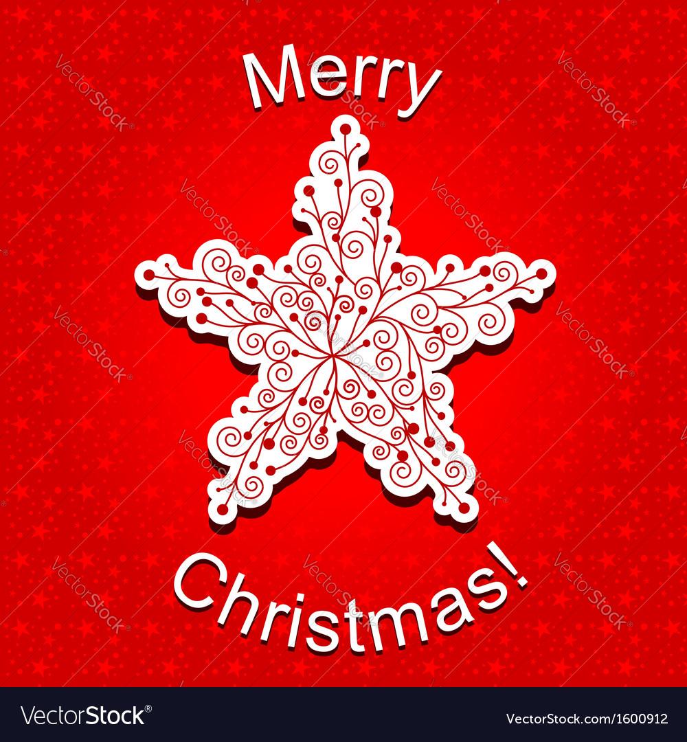 Red Christmas Star Snowflake Greeting Card