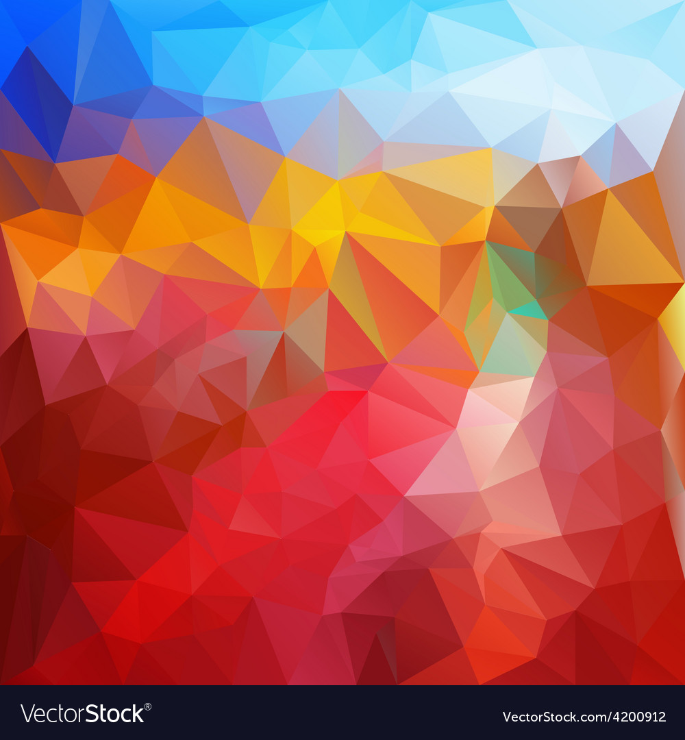 Red fire blue polygonal triangular pattern