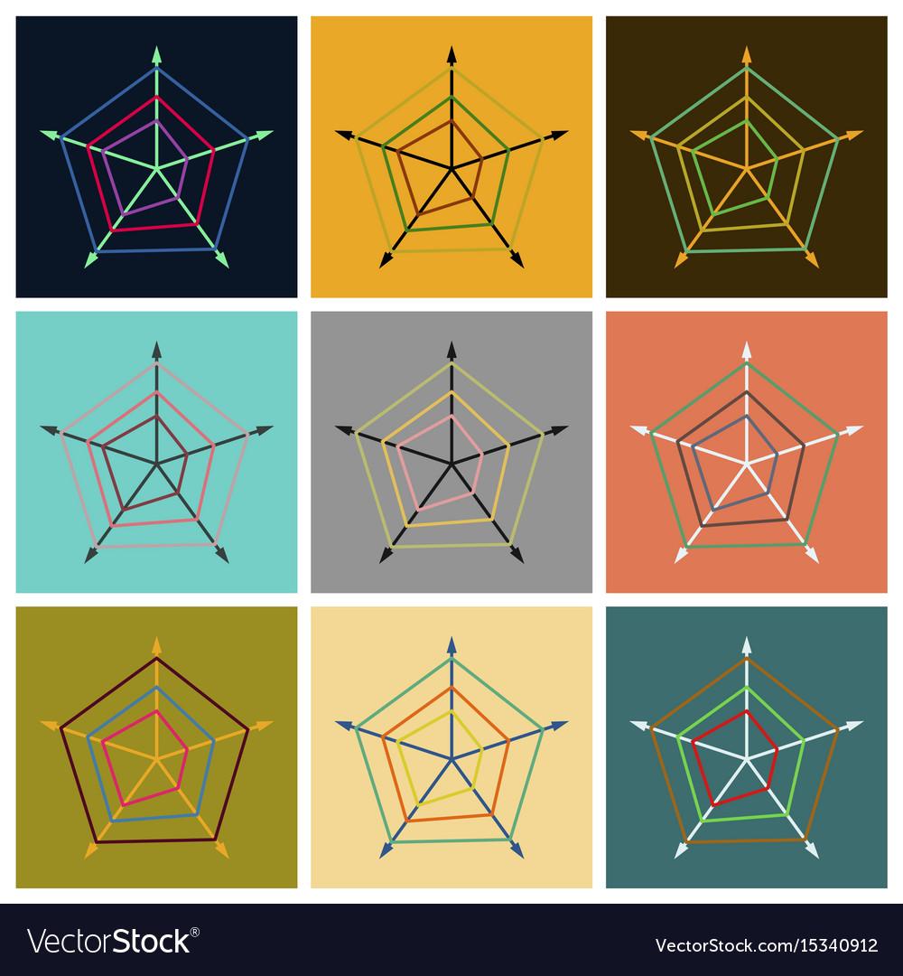Set of flat icons on stylish background thin chart