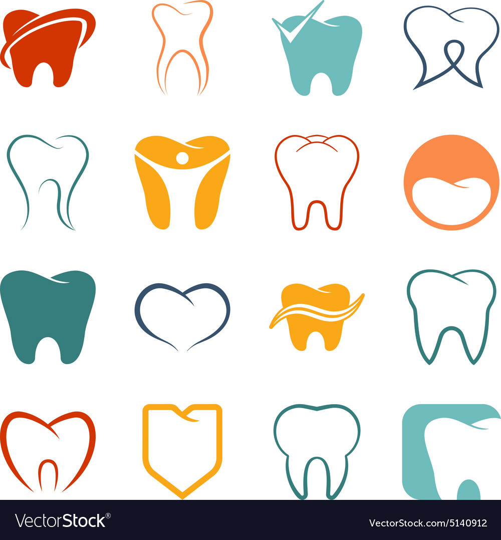 Tooth teeth icons set