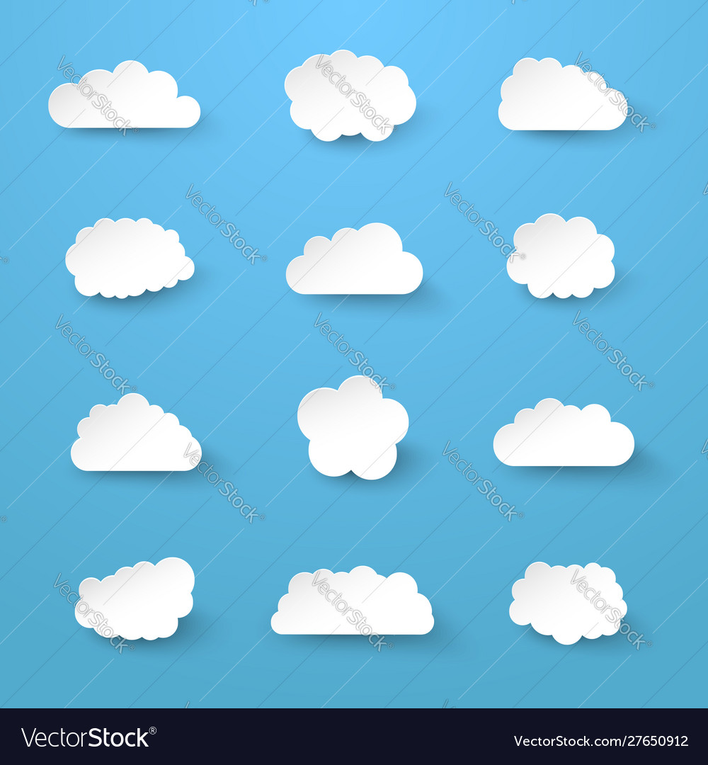 White paper cut clouds collection