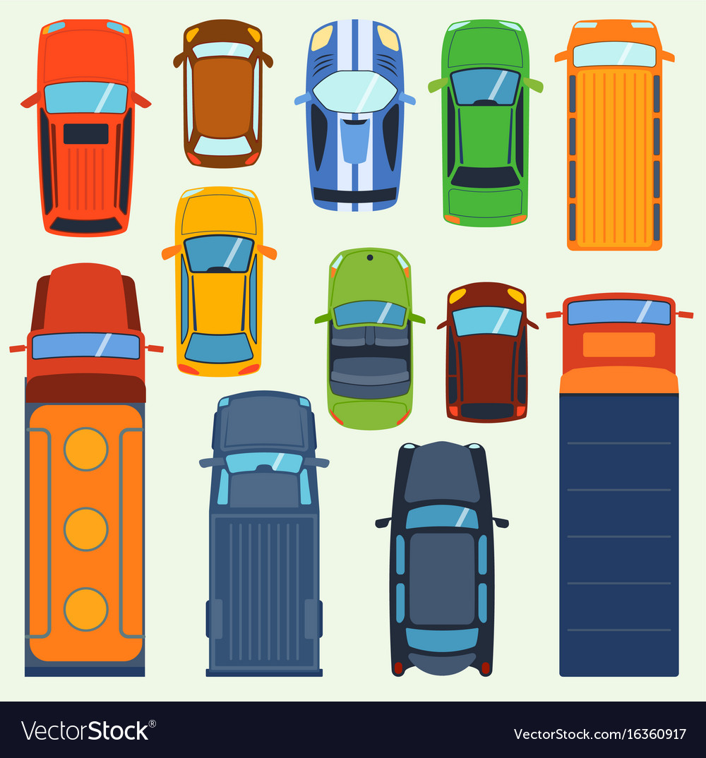 Car Vehicle Top View Set Icon Transport Royalty Free Vector