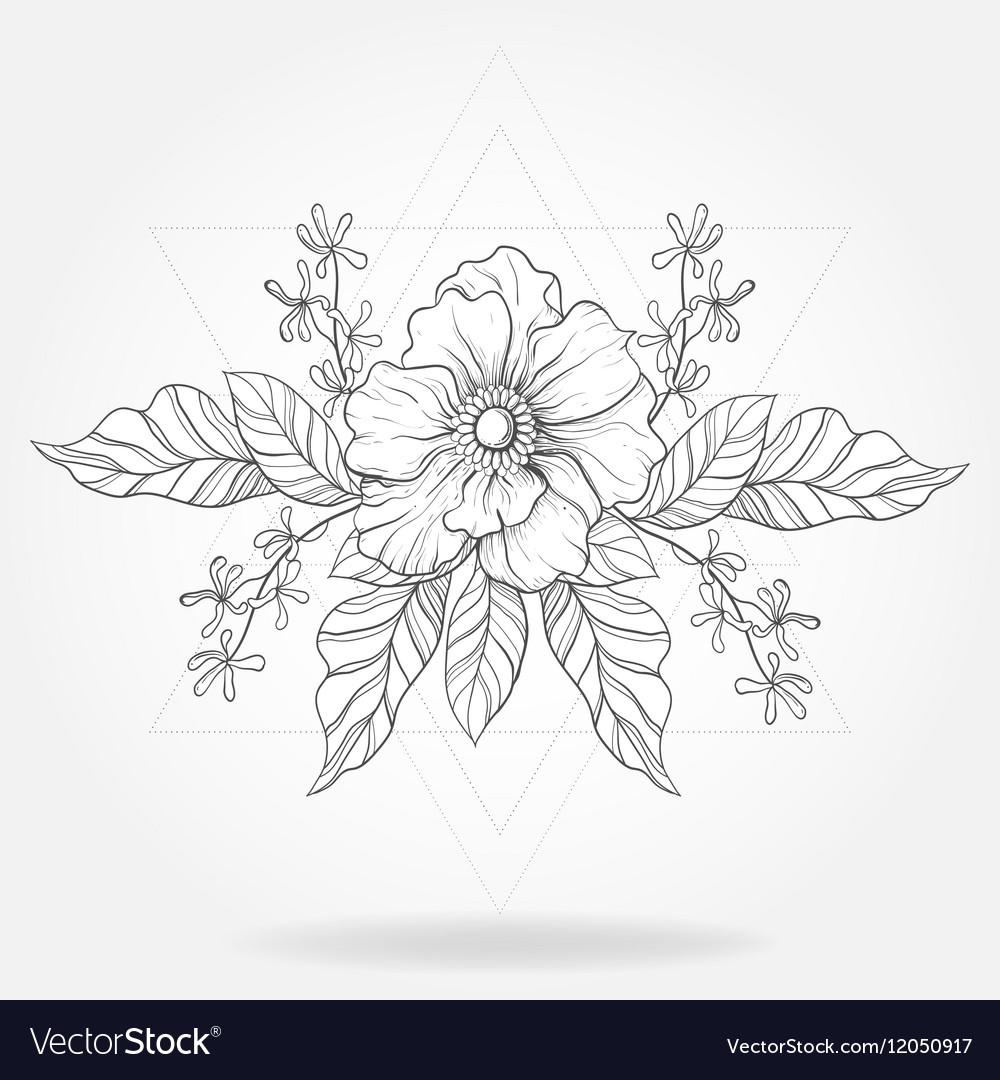 Freehand boho tattoo Blackwork flower in hipster