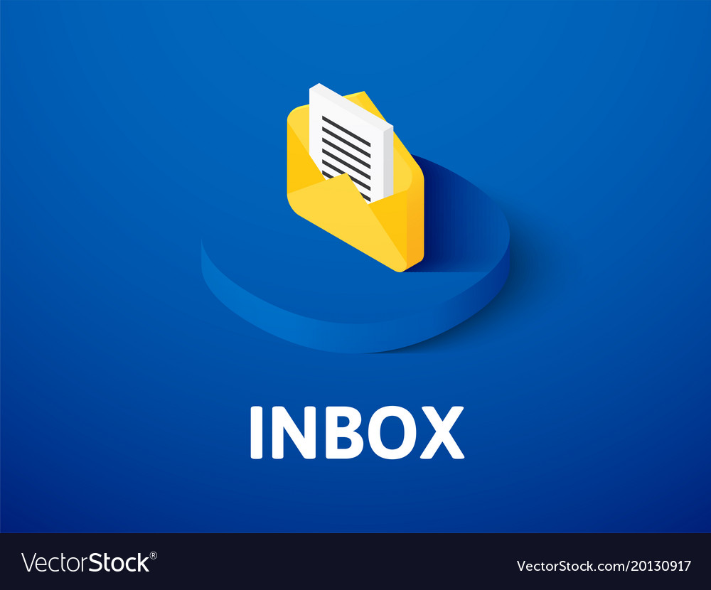 Inbox isometric icon isolated on color background